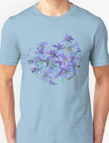 Purple Daisies in Watercolor & Colored Pencil  Unisex T-Shirt