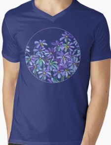 Purple Daisies in Watercolor & Colored Pencil  Mens V-Neck T-Shirt