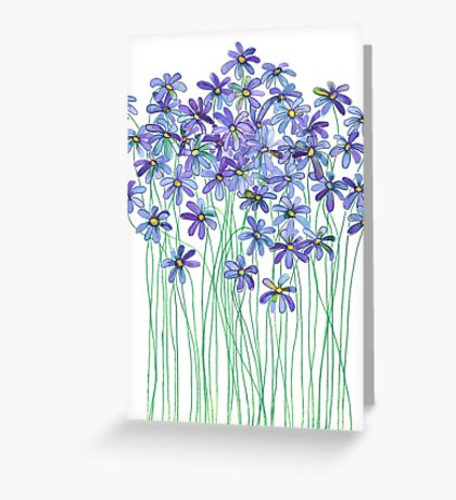 Purple Daisies in Watercolor & Colored Pencil  Greeting Card