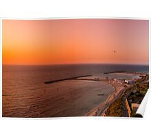 Elevated view of the the Tel Aviv, Hilton Beach at sunset Poster