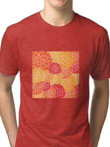 Floral pattern (red, yellow and orange) Tri-blend T-Shirt