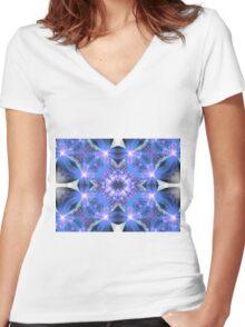 Blue Flower Mandala - Abstract Fractal Artwork Women's Fitted V-Neck T-Shirt