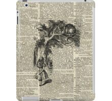 Alice With Cheshire Cat,Alice In Wonderland,Vintage Dictionary Art iPad Case/Skin