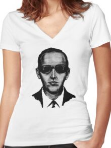 D.B. Cooper - Black and White [Use on LIGHT GREY SHIRT] Women's Fitted V-Neck T-Shirt