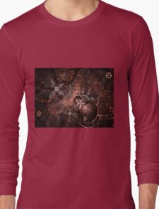 Warm Blooms - Abstract Fractal Artwork Long Sleeve T-Shirt