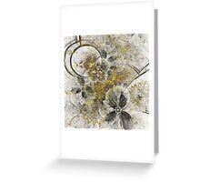 Golden Flowers - Abstract Fractal Artwork Greeting Card