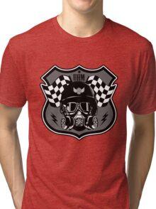 Drag Racing Helmet and Flags- Grey Design Tri-blend T-Shirt