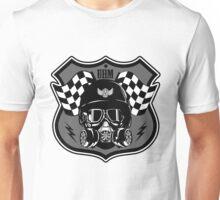 Drag Racing Helmet and Flags- Grey Design Unisex T-Shirt