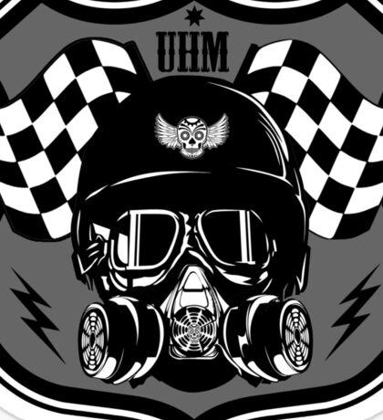 Drag Racing Helmet and Flags- Grey Design Sticker