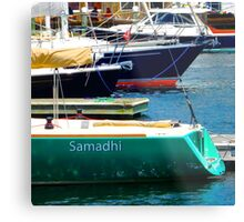 Boat Yogi in Camden Harbor Metal Print