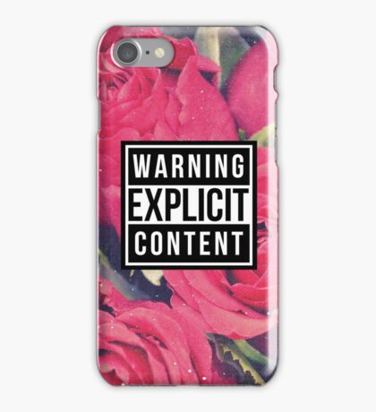 Warning Explicit Content Grunge Red Roses  iPhone Case/Skin