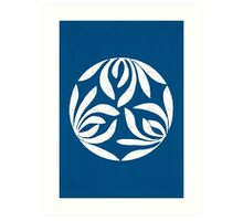 Japanese Design 01 - Minimalist Asian Decor Modern Home Decor, Navy Blue Art Print