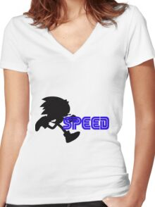 Speed Type: Sonic Women's Fitted V-Neck T-Shirt