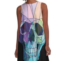 Low-poly geometric skull design A-Line Dress
