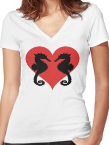 Seahorses Women's Fitted V-Neck T-Shirt