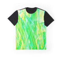 Grassy Abstract in Yellow Green Aqua White Graphic T-Shirt