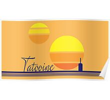 Tatooine Sunset Vintage 80s Design Style Poster
