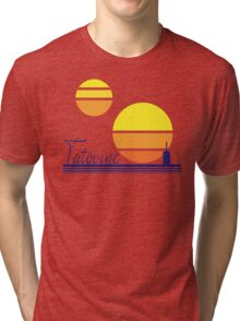 Tatooine Sunset Vintage 80s Design Style Tri-blend T-Shirt