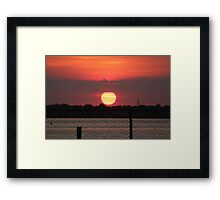 Island Park Big Sun Ball Sunset Framed Print