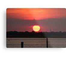 Island Park Big Sun Ball Sunset Metal Print