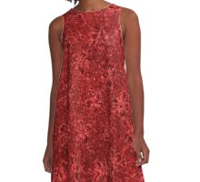 Vintage Floral Ribbon Red A-Line Dress