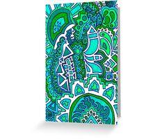 Green Sun Doodle Greeting Card