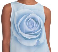 Soft Baby Blue Rose Abstract Contrast Tank