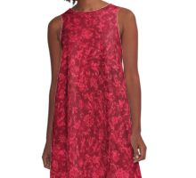 Vintage Floral Ruby Flame Red A-Line Dress