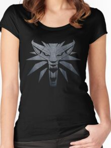 Forest and Wolf Medallion Women's Fitted Scoop T-Shirt