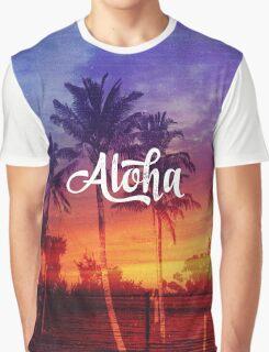 Vintage Retro Throwback Tropical Aloha Palm Tree Beach Sunset Graphic T-Shirt