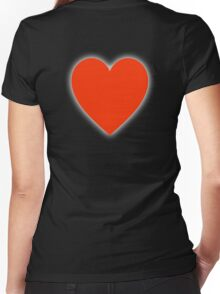 LOVE, Love Heart, Pure & Simple, RED Heart, on BLACK Women's Fitted V-Neck T-Shirt