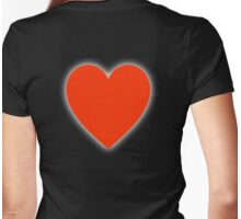 LOVE, Love Heart, Pure & Simple, RED Heart, on BLACK Womens Fitted T-Shirt