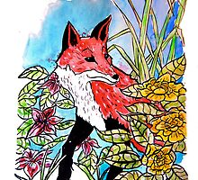 Illustration- Fox in the flowerbed by Aude Shattuck