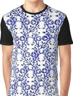 Vintage Floral Sapphire Blue and White Graphic T-Shirt