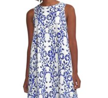 Vintage Floral Sapphire Blue and White A-Line Dress