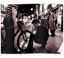 Charlie Fixing Rickshaw (Soho, London) Poster