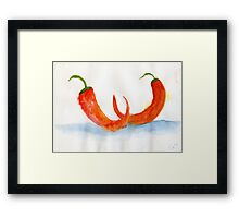 Two Chilis – Daily Painting #877 Framed Print