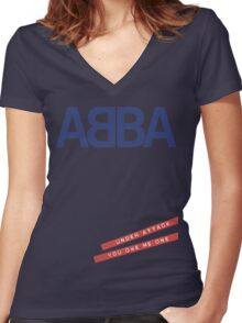 ABBA Under Attack Women's Fitted V-Neck T-Shirt