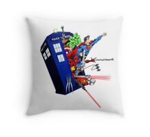 Heroes in the Tardis Throw Pillow