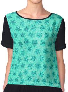 Vintage Floral Turquoise Mint Chiffon Top