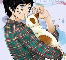 Phil with a cute cat by goddessofllamas