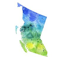 Watercolor Map of British Columbia, Canada in Blue and Green - Giclee Print  Photographic Print