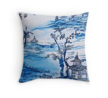 Painting with chinese landscape Throw Pillow