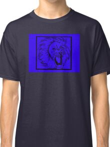 GRAPHIC LION PRINT IN NEON  BLUE AND BLACK  Classic T-Shirt