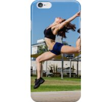 Young female bodybuilder exercises outdoors in a park iPhone Case/Skin
