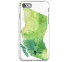 Watercolor Map of British Columbia, Canada in Green - Giclee Print of My Own Watercolor Painting iPhone Case/Skin