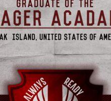 Jeager Acadamy Graduate Certificate  Sticker