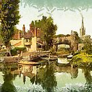 A digital painting of  Pulls Ferry, Norwich, England by Dennis Melling