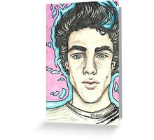 Ethan Dolan colour pencil portrait Greeting Card