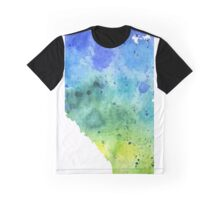 Watercolor Map of Alberta, Canada in Blue and Green - Giclee Print of My Own Watercolor Painting Graphic T-Shirt
